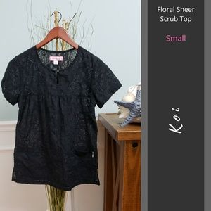Koi | Floral Sheer Scrub Top with Pockets